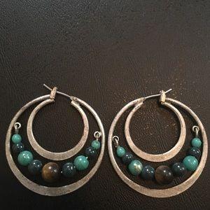 Jewelry - Silver Hoop Beaded Earrings